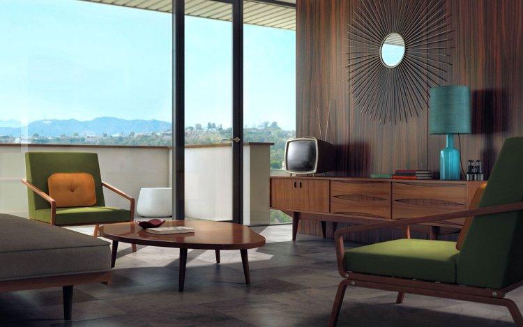 Esprit rétro, intérieur bois et formes géométriques